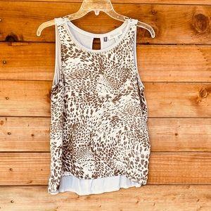 Jennifer Lopez jewel neckline leopard print blouse